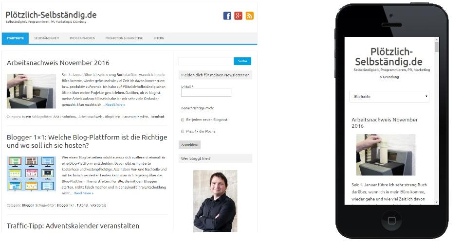 Mein Blog auf dem Desktop-PC und auf dem Smartphone.