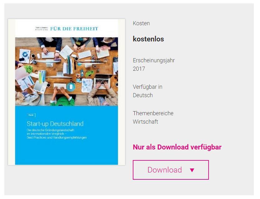 Umschlag der Studie Start-Up Deutschland