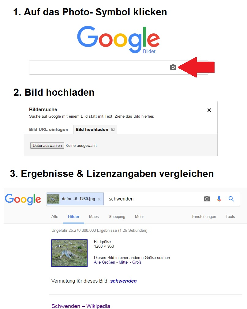 Schritt für Schritt Anleitung wie die Reverse-Image-Suche auf Google Images funktioniert