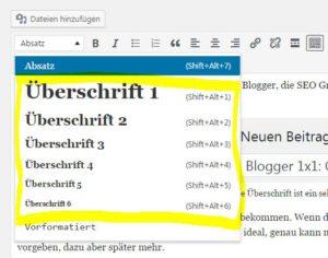 Ein Screenshot der Textformatierungsleiste von WordPress bei den die einzelnen Überschriftenformate hervorgehoben sind.