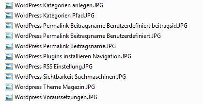 Ein Screenshot, wie ich SEO taugliche Dateinamen angelegt habe