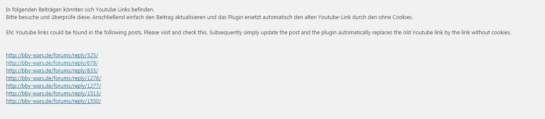 Screenshot Aufgelistete Beiträge in denen Youtube vorkommt