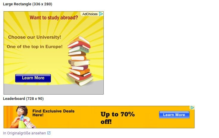 Zwei Display Werbeanzeigen von Google Adsense