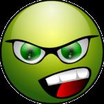 Grünes, wütendes Smilie