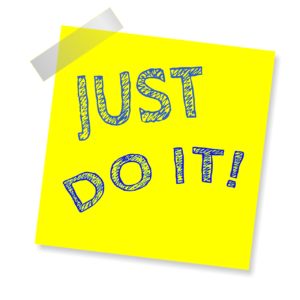 Motivations-Post-It auf dem Just do it steht