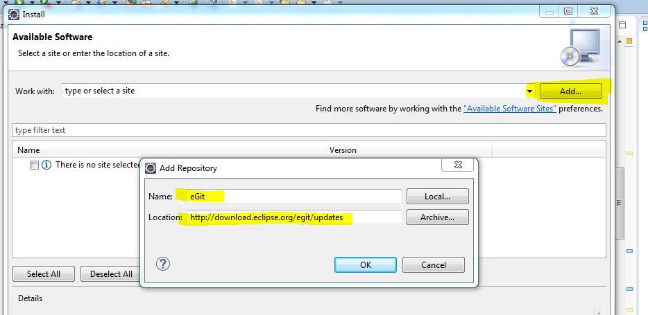 Add Repository eGit