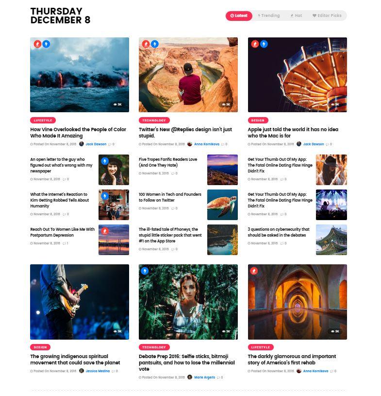 Ein Portal/Magazin Design zeigt die neuesten Beiträge verschiedener Kategorien an. *Werbung*