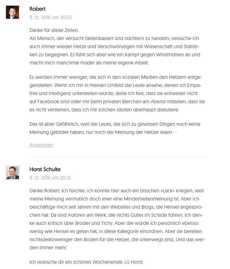Ein Screenshot meines Kommentares zum Thema Diffamierung oder Aufklärung im positiven Sinn - auf dem Blog von 2bier.de