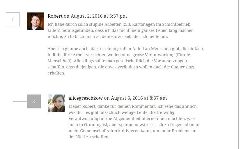 Ein Kommentar von mir zum Thema Geld oder Sinn auf dem Blog von Alicegreschkow