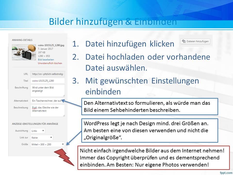 Zeigt das Datei-Upload Menü von WordPess und daneben Tipps, wie man das Bild am besten einfügt und bearbeitet.