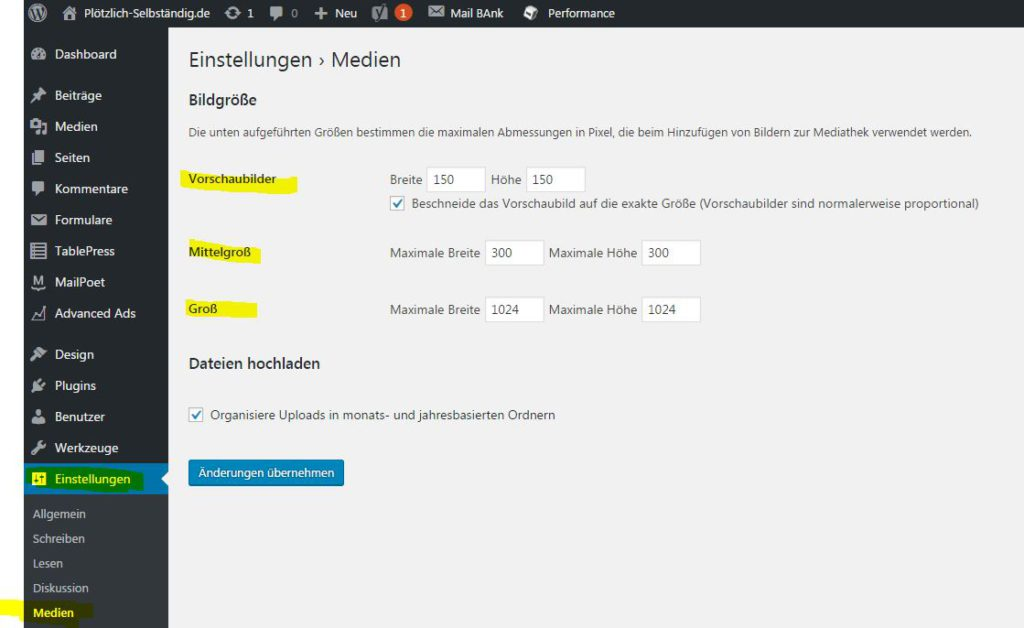 Bildgrößeneinstellung in WordPress