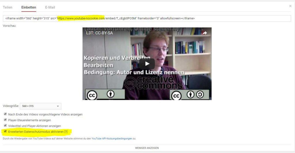 Screenshot von der Einbetten-Funktion bei Youtube