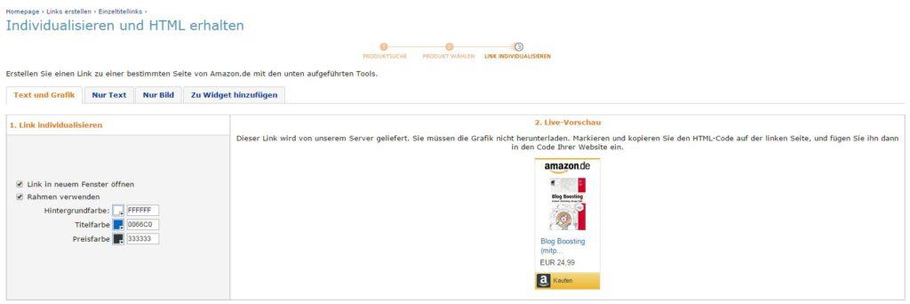 Amazon Partnerprogramm Adminbereich. Link erstellen