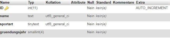 Screenshot aus PHPmyAdmin der Tabelle wp_mannschaften die als Beispiel dient