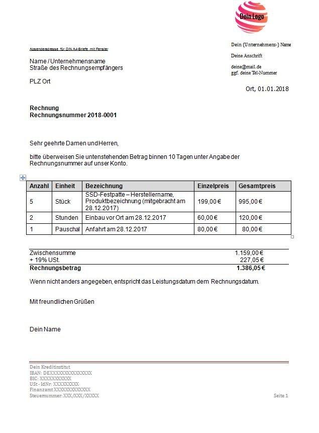 Ein Screenshot der Standardrechnungsvorlage