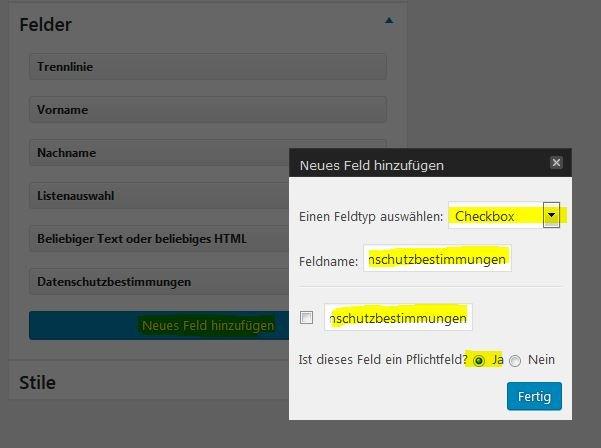 Einstellungen für die Datenschutz-Checkbox