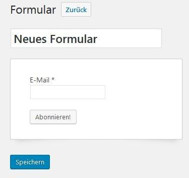 Screenshot eines neuen MailPoet Formulares