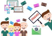 Newsletter die an Verbraucher gehen und ein Typ der ein Schild mit DSGVO hochhält.