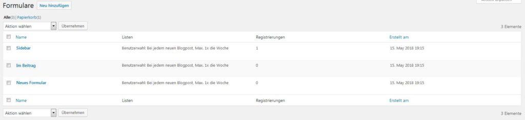 MailPoet Formularübersicht im WordPress Dashboard