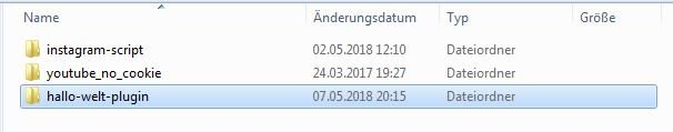 "Screenshot vom Ordner ""hallo-welt-plugin"""