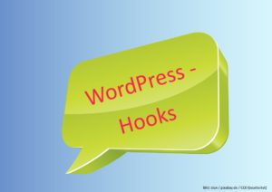 Eine Sprechblase ein der WordPress-Hooks steht
