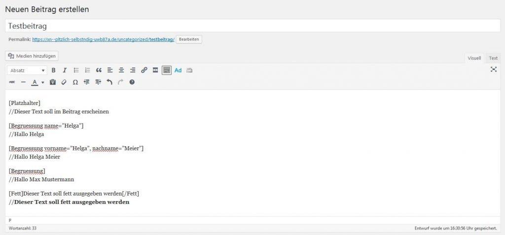 Die Shortcode-Beispiele noch einmal im WordPress Editor