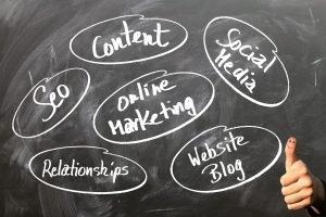 Keywörter zum Marketing auf einer Tafel