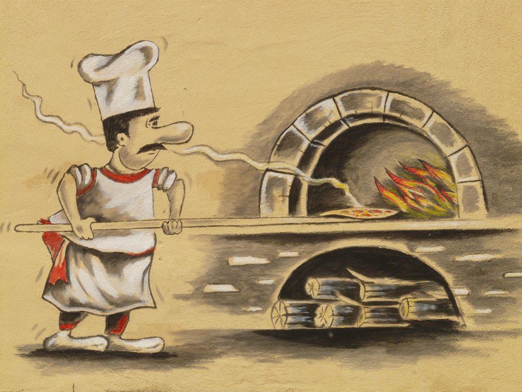 Ein gezeichneter Pizzabäcker, der gerade eine Pizza in den Steinofen schiebt