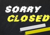 Sorry Closed Schriftzug