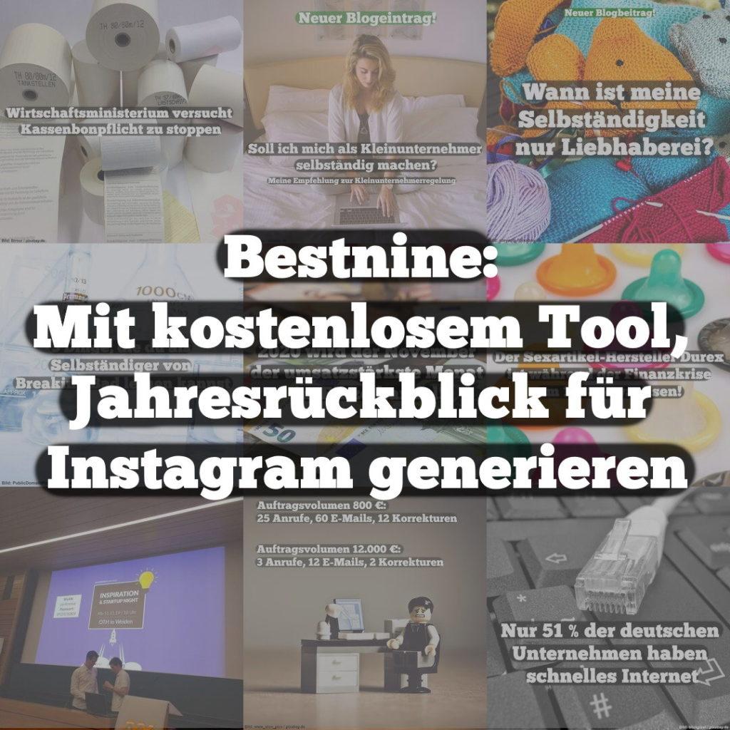 Bestnine: Mit kostenlosem Tool Jahresrückblick für Instagram generieren