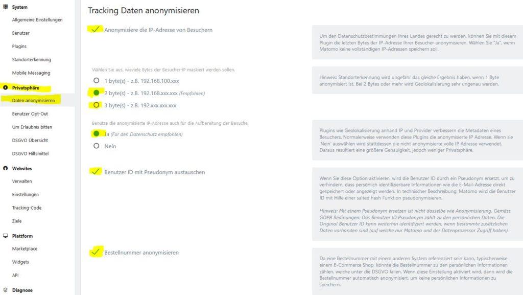 """Matomo empfohlene Datenschutzeinstellungen im Reiter """"Daten anonymisieren"""""""